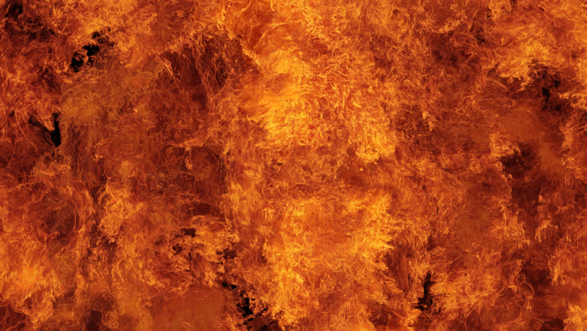Inferno fire wall in real-time with seamless loop isolated, hell fire burning up, shooting with high speed camera, intense fuel blazing, perfect for digital composition.