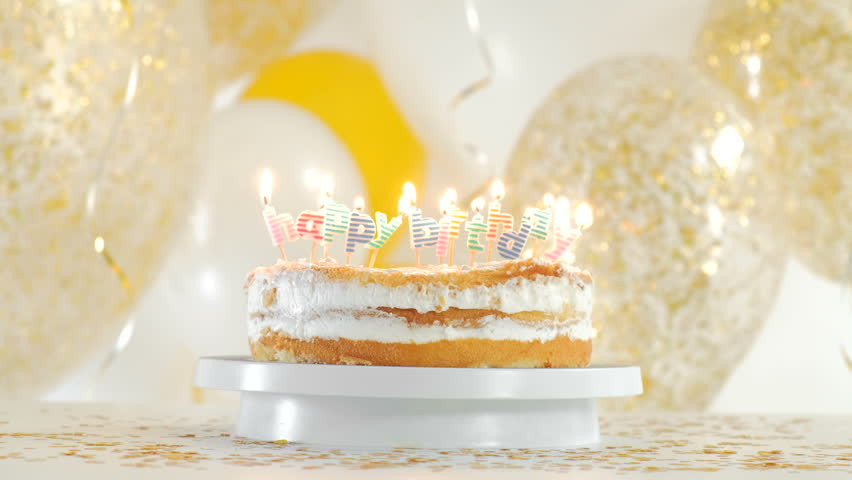 Happy Birthday Cake With Sparklers Greeting Card 1080p FullHD