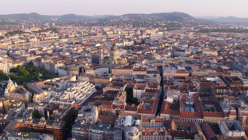 Aerial view of downtown Budapestin sunrise | Shutterstock HD Video #27077293