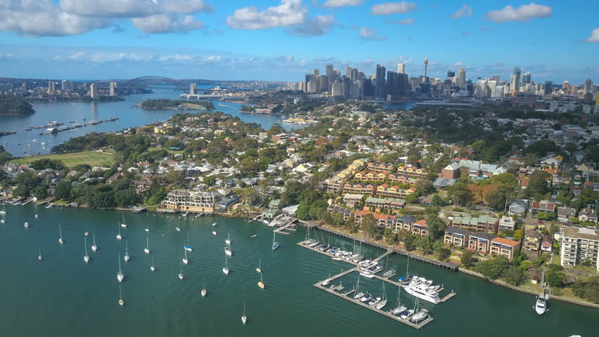 4k aerial hyperlapse video of Sydney Harbour, with view of Harbour Bridge,  and skyline of CBD