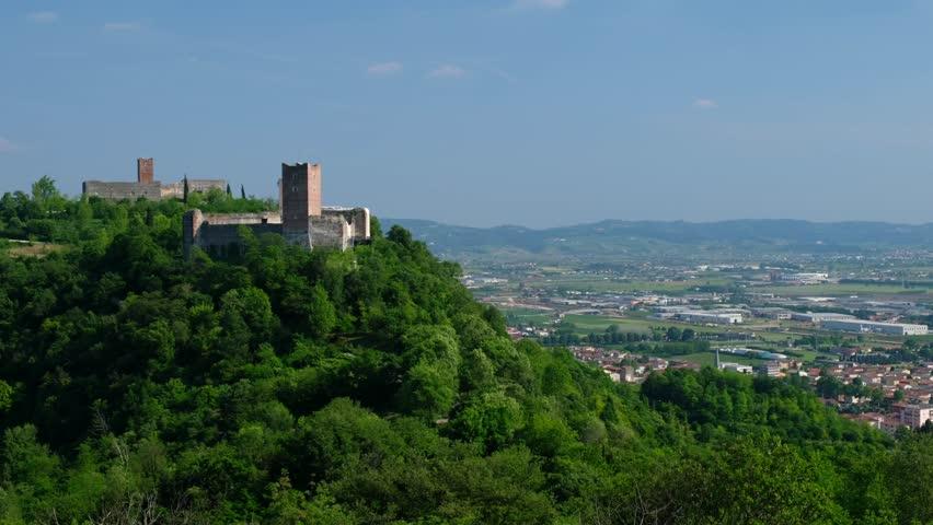 Vicenza - Montecchio Maggiore - The Bellaguardia and della Villa castles, also called Giulietta and Romeo castles - Motion view
