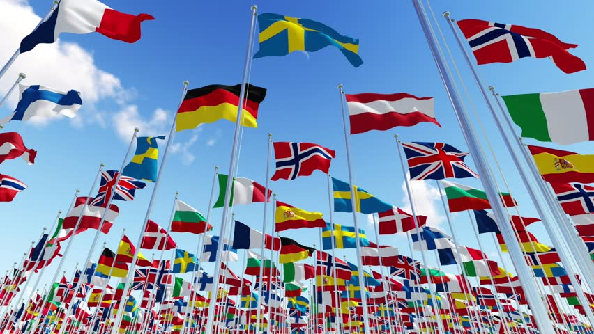 Flags of European countries on flagpoles waving on the wind against blue sky. View from below. Three dimensional rendering animation.