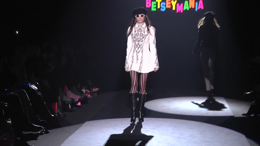 NEW YORK - FEBRUARY 13: Model walks runway for Betsey Johnson collection during Fashion week at Lincoln Center in Manhattan on Feb 13, 2012 in New York City