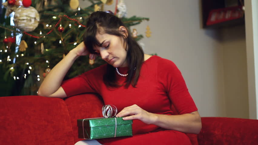 Sad Woman Waiting For Somebody With Christmas Gift Stock Footage ...