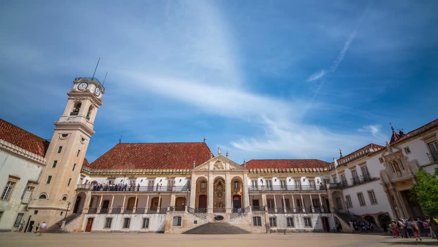 Timelapse of the University of Coimbra, shot in a wonderful and sunny day of students celebration. This is the oldest university in Europe.