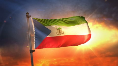 Equatorial Guinea Flag Backlit At Beautiful Sunrise Loop Slow Motion 4K