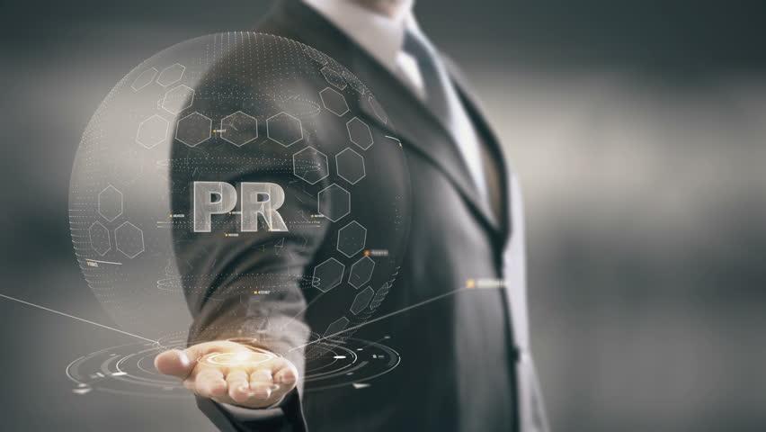 PR with hologram businessman concept