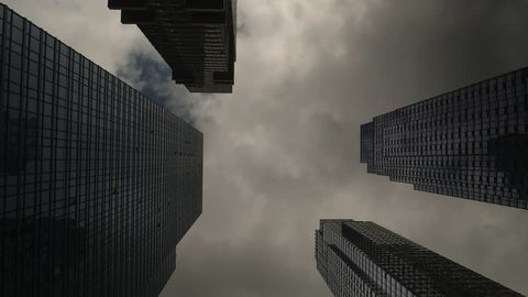 New York City, May 2017. Dark clouds passing over over skyscrapers.