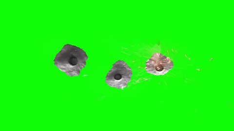 Gun Bullet Three Holes Metal Sparks Green Screen Animation
