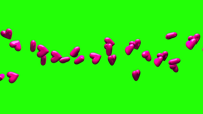 Pink Hearts On Green Chroma Key. Loop able 3DCG render Animation. | Shutterstock HD Video #27263383
