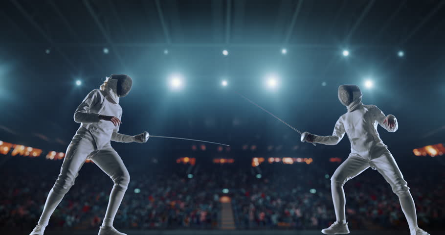 4K video in slow motion of two female fencing athletes. The action takes place on professional sports arena with spectators and lense-flares. Women wear unbranded sports clothes. Arena is made in 3D. | Shutterstock HD Video #27274333