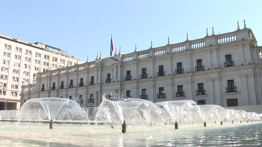 CHILE - MAY 2007: Fountain near La Moneda Palace in Santiago, Chile