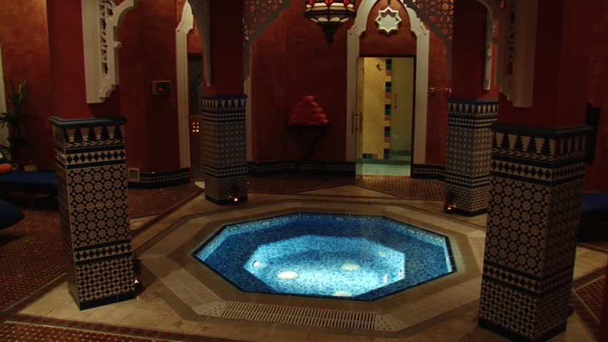 DUBAI, UAE - CIRCA 2008: Pan-right shot of Al Asalla spa and Moroccan Hammam located in the Dubai's Ladies Club. The spa is lavishly decorated with Moroccan design motifs.
