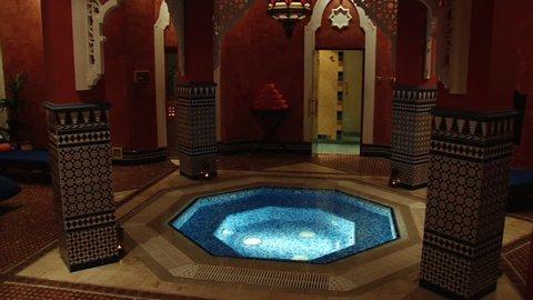 DUBAI, UAE - CIRCA 2008: Pan-right shot of Al Asalla spa and Moroccan Hammam located in the Dubai's Ladies Club. The spa is lavishly decorated with Moroccan design motifs.