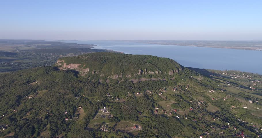 Aerial view of the Badacsony hill near the Lake Balaton in sunset | Shutterstock HD Video #27363493