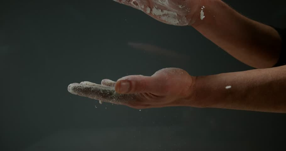 Hands of Man with Flour, Slow motion 4K