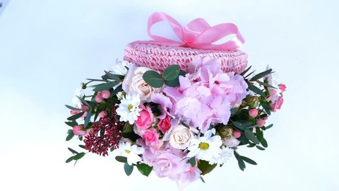 view from above, Flowers, bouquet, rotation on white background, floral composition consists of hydrangea, Chrysanthemum bacardi, Rose lydia, Rose pion-shaped, eucalyptus