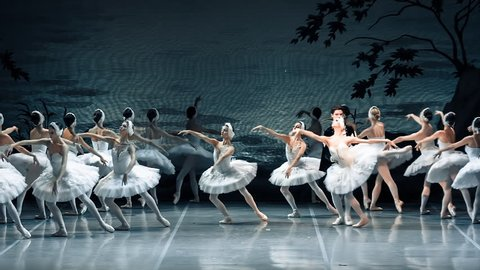 ST PETERSBURG, RUSSIA - AUGUST 2016: Russian ballet perform Swan Lake in Mikhailovsky Theatre in St. Petersburg