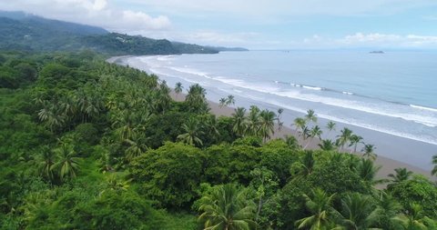 Aerial Approach to the beautiful secluded Uvita Beach, Mario Ballena National Park, Costa Rica