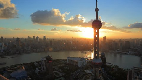 "China, Shanghai Skyline at Sunset. Oriental Pearl Tower and Huangpu River.  >>> Please search more similar: "" ShanghaiSkyline "" ."