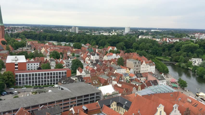 Lubeck, Germany. Beautiful aerial city view.