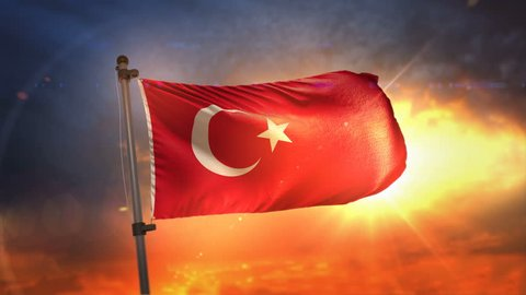 Turkey Flag Backlit At Beautiful Sunrise Loop Slow Motion 3D Rendering 4K