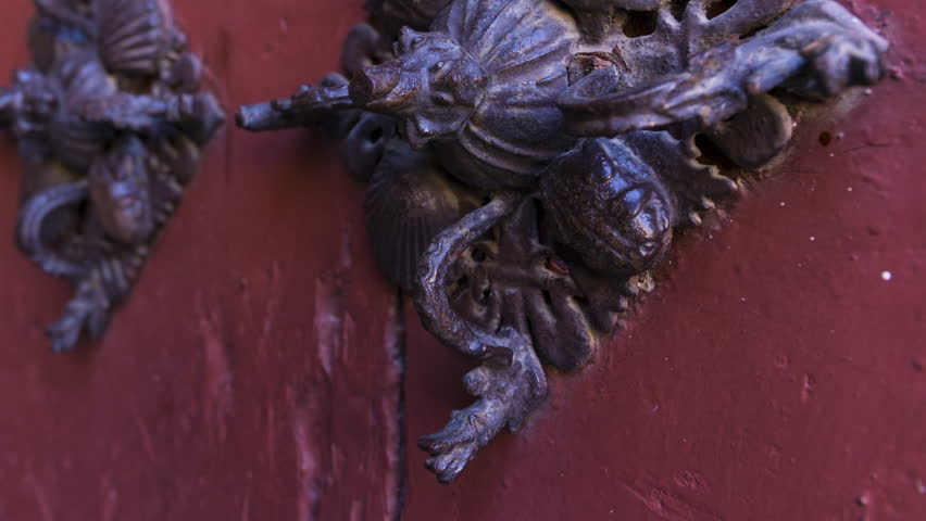 Detail of a door decorated with forge in the facade of the New Cathedral in Salamanca city, Salamanca province, Castilla y Leon, Spain, Europe