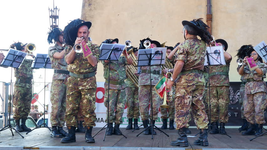 Nemi, Italy - June 2017: Music orchestra military performing at festival of strawberry