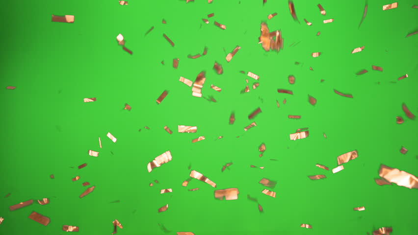 Real Confetti falling soft and beautiful in copper and with Green screen for party and celebrations like victories and birthdays or advertising  | Shutterstock HD Video #27485110