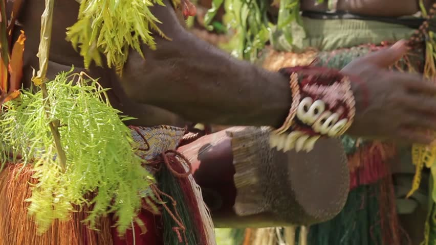 TUFI, PAPUA NEW GUINEA - APRIL 8: Traditional drumming during a dance Watam Village, Sepic River, Papua New Guinea on April 8, 2011 in Tufi, Papua New Guinea.