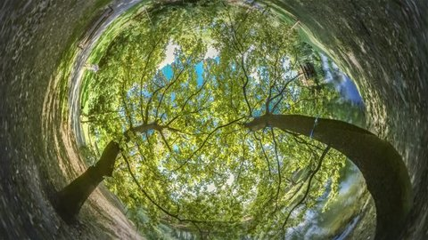 Spherical Panorama of Crowd in Beautiful Park, Video 360 Degree Rabbit Hole Planet 360 Degree, Timelapse. Sun Shines Through Green Fresh Trees' Branches, Blue Clear Sky is Visible. Tourists Are