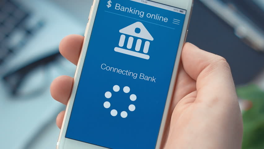 Failed connecting to the bank account on banking app on the smartphone Smartphone application concept