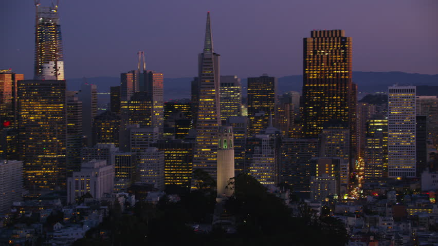 San Francisco, California circa-2017, Aerial view of city and Coit Tower