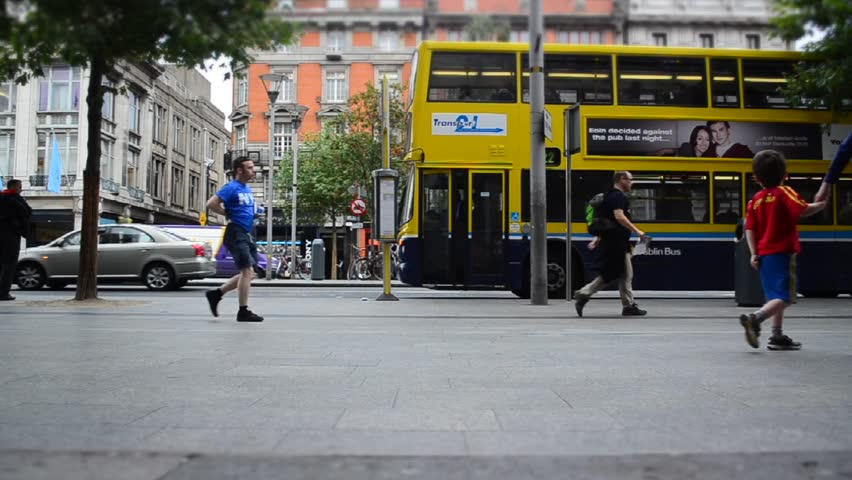 DUBLIN, IRELAND - CIRCA 2011: Time lapse of people in O´Connel Street circa