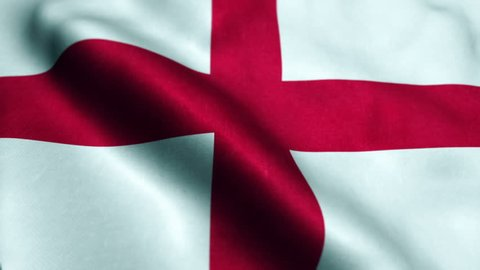 The waving Flag of England with the St George Cross emblem, seamless looping