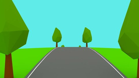 Camera moves on an empty highway lowpoly trees able to loop