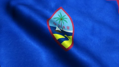 Flag of Guam gently waving in the wind. Loop ready file with highly detailed fabric texture.