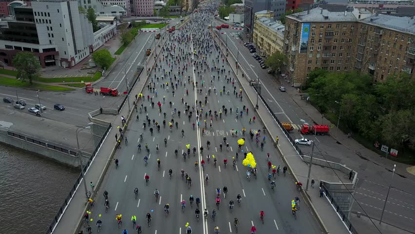Russia Moscow May Cyclists on the Moscow Cycle Parade Aerial View From Drone | Shutterstock HD Video #27692143
