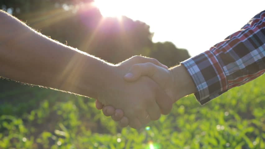 Handshake of two farmers on the field