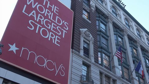 NEW YORK CITY, USA - MAY 17, 2017: Macy's store front sign in Manhattan. Macy's is the world's largest store.