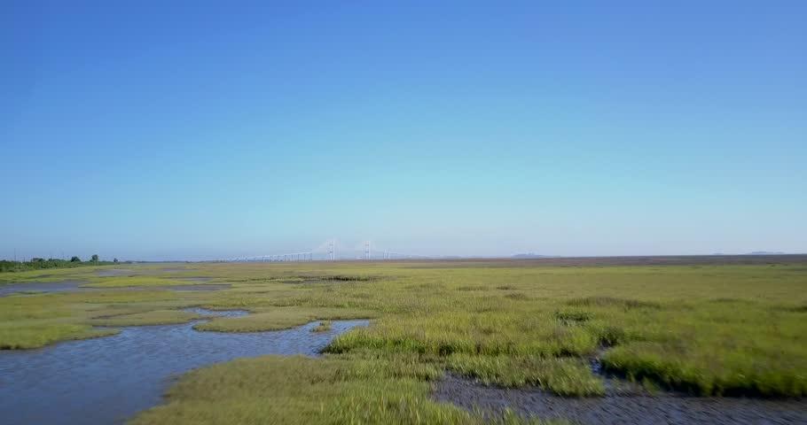 Aerial Marsh Land Pan