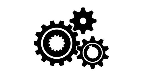 Animated mechanism of 3 rotating gears of different sizes. Motion design with alpha channel.
