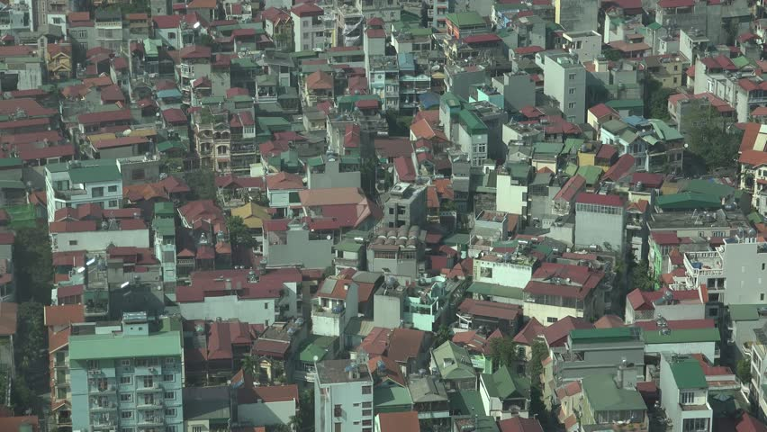 Hanoi, vietnam, 2014: view from above the houses of poor people in Hanoi