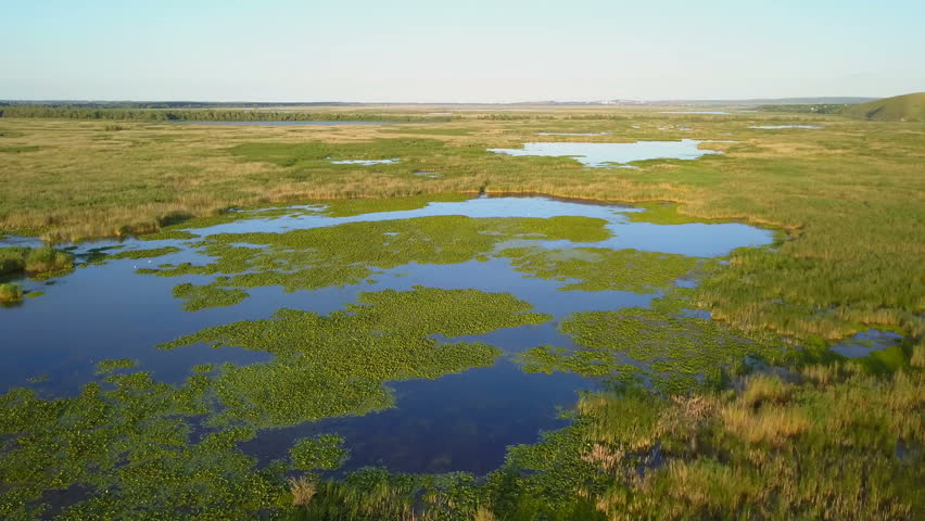 Danube delta wetlands aerial view