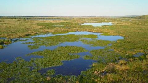 Danube delta wetlands aerial view