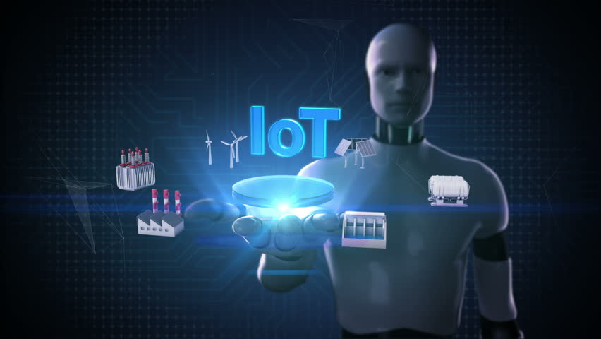 Robot, cyborg open palm, Smart Factory, solar panel, wind generator, Hydroelectricity connect 'IoT' typo, Internet of things, artificial intelligence.