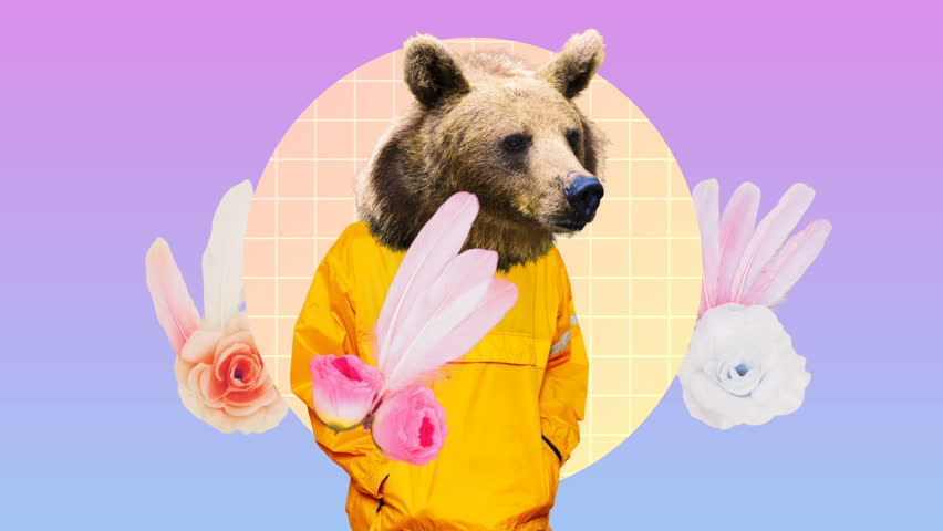 Fashion Hipster Bear in human clothes on an abstract background. Surreal art