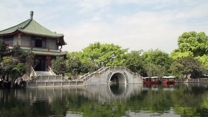 Stone arch bridge and Pavilion (Panning) - Stone arch bridge and Pavilion in