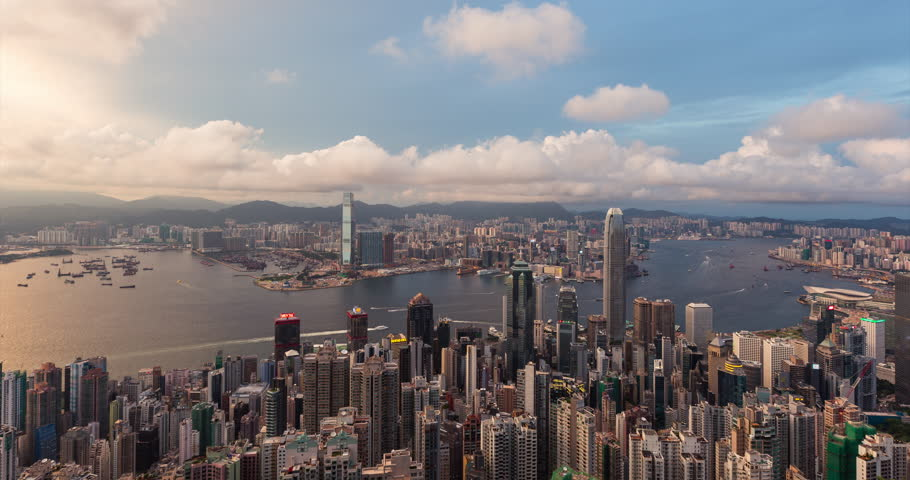 Sunset in Hong Kong, with cityscape of HK city | Shutterstock HD Video #27768712