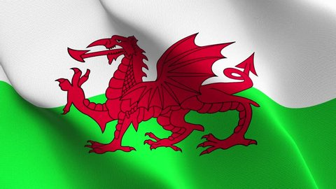 Wales flag waving seamless loop in 4K and 30fps. Welsh loopable flag with highly detailed fabric texture.